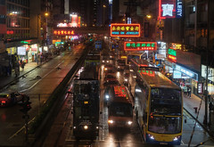 """""""causeway bay by night"""" (hugo poon - one day in my life) Tags: xt1 35mm hongkong causewaybay hennessyroad tram citynight colours lights sign bus rainy goodnight"""