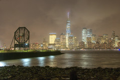 Colgate Clock, Jersey City (Andrew Aliferis) Tags: new jersey nj jerseycity colgateclock mist rain storm hudsonriver inclement weather shore night wtc worldtradecenter one city lights nyc newyorkcity hdri highdynamicrangeimage photomatix andrew andy aga aliferis water clouds communipaw