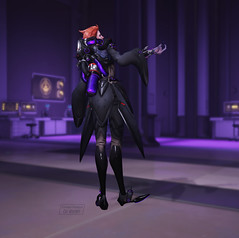 Moira - 007 - Base Skin - Come Here Emote - 009 - Beckon Right Side (Sleepy Skies) Tags: moira overwatch screenshot high resolution reference o'deorain talon blackwatch video games