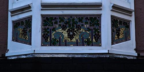 10 - Reims - Rue Marx Dormoy - Maison de ville de style art déco (Reconstruction), 1922 - Détail