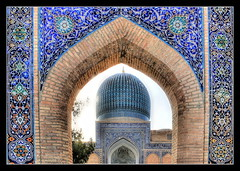 Samarqand UZ -  Gur-e-Amir Mausoleum 01 (Daniel Mennerich) Tags: silk road uzbekistan gūri amīr samarqand history architecture hdr aoi elitegalleryaoi bestcapturesaoi aoi3levels