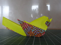 Little bird designed and taught by White Paper (Orizuka) Tags: origami whitepaper bird chiyogami