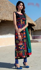 Printed Tunic, Cotton Fabric in Multicolor Shaded