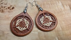 "3D Layered Veneer Earrings ""Venearrings"" - Flower of Life: Origin (maKACS) Tags: makacsdesign jewel jewelry jewellery earrings mahogany maple"