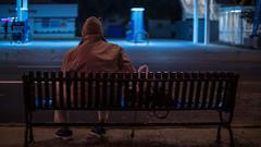 Ravenswood Bus Stop (Jovan Jimenez) Tags: ravenswood bus stop cinematic metabones speedbooster focal reducer night people man old sony alpha a6500 6500 nikkor 50mm f12 ilce winter hat coat ultra