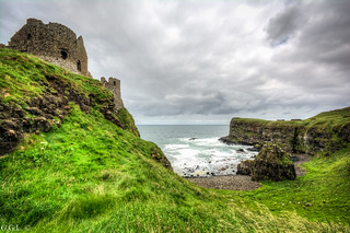Dunluce Castle. County Antrim. Green in Ruins.