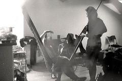 Hamac à kékos (julien.leplant) Tags: analog bw blackandwhite photography double exposure doubleexposure nikon f2 ilford 400iso 35mm girl friends hamac light grain mate flat