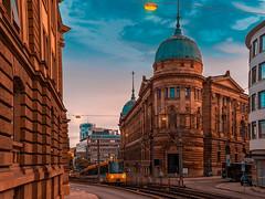Haus der Wirtschaft Stuttgart (Michael Feifel) Tags: city street badenwürttemberg stuttgart autumn train blue hour orange teal