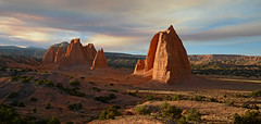 Upper Cathedral Valley (photo61guy) Tags: nikond7000 capitolreef capitolreefnatlpark nature landscape panorama pano eveninglight goldenhour monolithe forestfire controlledburn nationalparks nationalpark utah southernutah