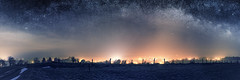 Le village (Lux Obscura) Tags: night light signal mist rurality stars milkyway cassiopeia constellation snow winter 31 panorama trees