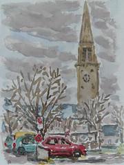 L'église (christian angué) Tags: aquarelle