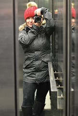Going Up ... (vanessa violet) Tags: me selfie selfportrait winter snow wet hat red elevator reflection mirror toque