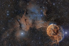 IC 443 and 444 - The Jelly Fish (2 Pane) (Paddy Gilliland @ Image The Universe) Tags: jellyfish ic443 ic444 nebula ic space nebulae stars night astro astronomy astrophoto astrophotography ap lrgb rgb hubble cosmos texture abstract outdoor wide widefield nighttime sky dark colours ngc astrometrydotnet:id=nova2346705 astrometrydotnet:status=solved