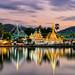 Sunset scence of Wat Jongklang temple