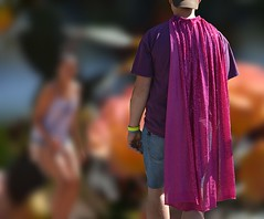 Another Day In Portlandia (swong95765) Tags: cape man city guy costume unusual different bokeh pink choices