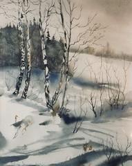 Première neige à Grace-Hollogne (Demars Philippe) Tags: aquarelle bouleaux paysage neige