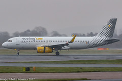 EC-MFK - 2015 build Airbus A320-232, arriving on Runway 05L at Manchester during a snow flurry (egcc) Tags: 6535 a320 a320232 airbus ecmfk egcc lightroom man manchester ringway sharklets vlg vy vueling vuelingairlines vuelingtopic vuelingcom