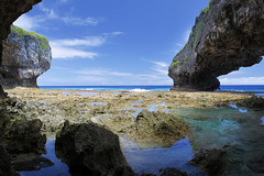 Talava Arches (Magryciak) Tags: niue pacific ocean water sea arch nature beach travel trip holiday tropic hot sun sunlight reflection 2017 canon eos blue cave rock colour walk hike tide