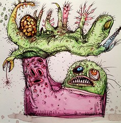 Hi. (pickledpunk) Tags: doodle sketchbook lowbrowart outsiderart artbrut monsterart drawing watercolor weirdo horror mutant hello hand monster