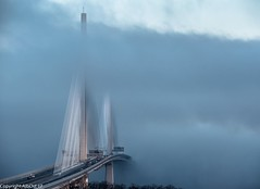 Bridge in the mist. (AlbOst) Tags: queensferrycrossing riverforth southqueensferry misty mistymorning mistclearing bridges forthbridges famousbridges shroudedinmist