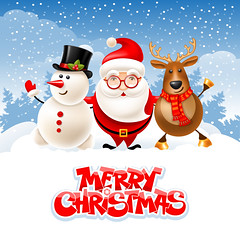 Merry Christmas (everythingisfivedollar) Tags: christmas merry vector cartoon santa claus snowman reindeer cute holiday celebration greeting character cheerful fun xmas newyear party night evening masquerade snow snowfall winter landscape deer company friends companions comic humor card banner poster flyer headline invitation concept creative idea together background snowy illustration christmastree merrychristmas