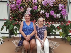 Betty and Mom at Akatsuka Orchid Gardens (BarryFackler) Tags: akatsukaorchidgardens orchids flowers ornamentalplants mom pennyfackler pennyspangler penny flowershop petals blooms blossoms beautiful colorful botany volcano volcanohawaii volcanohi family momsvisit2017 indoor vacation bettyfackler bettybowen betty smile smiling people plants hawaii hawaiiisland hawaiicounty bigisland polynesia sandwichislands 2017 hawaiianislands barryfackler barronfackler