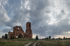 Abandoned Church. (Oleg.A) Tags: ancient autumn penzaregion russia building cathedral church old cloudy brick field outdoor rural evening bell sunset nature countryside landscape abandoned interior ruined materials tower orthodox twilight architecture skyscape antique destroyed wall saintmichaelthearchangelchurch catedral landscapes outdoors penzenskayaoblast ru