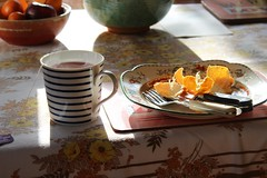 Sunlight and oranges (my little red suitcase) Tags: lunch sunlight oranges plate mug tea steaming