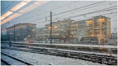 Severe Weather (RudyMareelPhotography) Tags: belgium brusselzuid brusselsmidi railwaystation railwaytracks snow station train weather winter flickrclickx flickr ngc