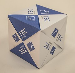 Cube with TEC logo (ISO_rigami) Tags: modular origami polyhedron a4 3d cube sonobe