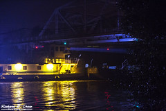 Tug Boat and Barge - Cal Sag, Worth Illinois - at night (Rick Drew - 18 million views!) Tags: barge calsag river channel water reflection glow light spot trees work commercial calumet saganashkee transportation industrial foggy yellow gold white il illinois night after dark evening spooky