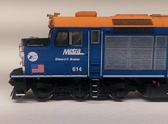 METRA 614 FIREMAN SIDE (Set and Centered) Tags: metra railroad model railroading ho scale 187 train passenger commuter emd f40c shapeways 3d printing circus city decals and graphics esu loksound electro motive divison 614 edward f brabec