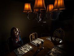 She can only wait so long (Clickumentary) Tags: flash home waiting table dinner pensive longing mask halloween wistful strobe clickumentary