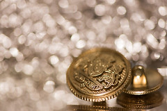 Golden Glimmer (Amy Maher) Tags: 105mm d750 nikon gold button two bokeh glimmer lion crest small