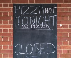 Bummer . . . (phunnyfotos) Tags: phunnyfotos australia victoria vic mallee countrytown pub hotel closed pizza blackboard bistro countrypub iphone wall disappointment hungry rural ruraldecline country