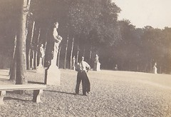 Elias Zaidler and Statues at Versailles France 1933 (Bury Gardener) Tags: blackandwhite bw oldies old vintage france paris 1930s 1933 scans snaps people folks europe