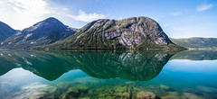 Turquoise Mirror (wheelcorner) Tags: balestrand norway geiranger reflection water cloiuds rocks mountains mountain perfect roadtrip norwegen norge canon 5d 5d2 5dmk2 24105 landschaft hdr landscape