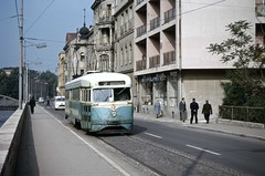 Sarajevo tram 42 by TrainsandTravel - Ex-Washington DC PCC tram no 42 (St Louis Car Company/1937-44) on Route 2 running along Appel Quay in Sarajevo.   This was one of a batch of 70 that were delivered to Sarajevo between 1958 and 1961.   25/05/1966 [TRM 306].