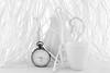 Tea time without the white rabbit (jopperbok) Tags: jopperbok odc white monochrome tea teapot teacup time dial alice wonderland rabbit lewis carroll literature stilllife tabletop