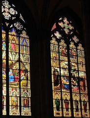 Details from stained-glass windows in St. Stephen's Cathedral, Vienna (Alona Azaria) Tags: vienna wien stefansdom stephens cathedral austria stainedglass