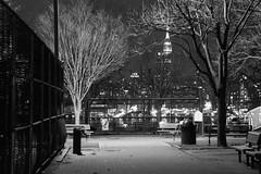 Empty playground. (Livia Lopez) Tags: playground empirestatebuilding night closed manhattan newyorkcity nyc photography canon fotografia monocromo cerrado noche parque arbol