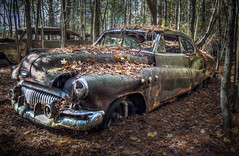 One of the many residents of Old Car City. (donnieking1811) Tags: georgia white oldcarcity automobile car old rust outdoors woods leaves trees sky hdr canon 60d lightroom photomatixpro