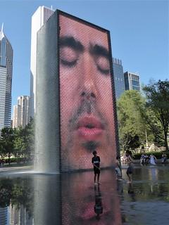 Chicago, Millennium Park, Crown Fountain, Reflection (Artist: Jaume Plensa)