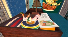 Diary page 27 - chicken pox (cadeSL) Tags: pox chicken boy child room bedroom school family home pirate blue ship book reading lay lying cushions rash spots boxer shorts socks sl second life secondlife virtual avatar