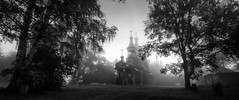 predawn (Sergey S Ponomarev - very busy) Tags: sergeysponomarev canon eos 70d efs1018mmf4556isstm nature natura summer fog mist panorama church wood morning predawn dawn sunrise blackandwhite monochrome biancoenero landscape paysage paesaggio landschaft august russia kirov europe orthodox houses horse christian сергейпономарев природа пейзаж утро церковь никульчино киров вятка россия монохром чб лес 2017 лето рассвет
