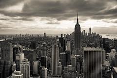 NY in Sepia (Katrina Wright) Tags: dsc60772 newyorkskyline nyc cityscape empirestatebuilding buildings towers city metropolis monotone bw nb monochrome sepia