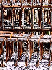Re-Bar (Steve Taylor (Photography)) Tags: art digital construction building brown white black metal rust steel newzealand nz southisland canterbury christchurch cbd city foundations reinforcingbar rebar