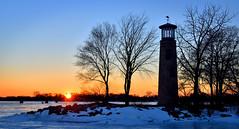 Last Light of 2016 (Jay Janssen) Tags: sunset 2016 december 31 asylum point oshkosh wisconsin lighthouse silhouette trees color