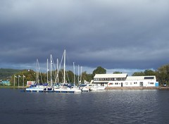 Yachts, Muirtown Basin, Caledonian Canal, Inverness, Oct 2017 (allanmaciver) Tags: yachts caledoninan cananl whote sun weather dark clouds water shades grey walk enjoy explore mast allanmaciver inverness scotland
