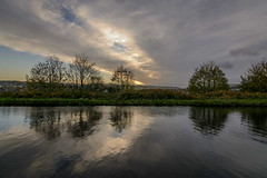 DSC_0015  - The  delicacy of a dawn... (SWJuk) Tags: swjuk uk unitedkingdom gb britain england lancashire burnley home canal leedsliverpoolcanal straightmile burnleyembankment water flat calm reflections clouds sunlight dawn daybreak sunrise bluesky trees towpath ripples light 2017 nov2017 autumn autumncolours autumnal nikon d7100 nikond7100 rawnef lightroomclassiccc tokina1116 wideangle